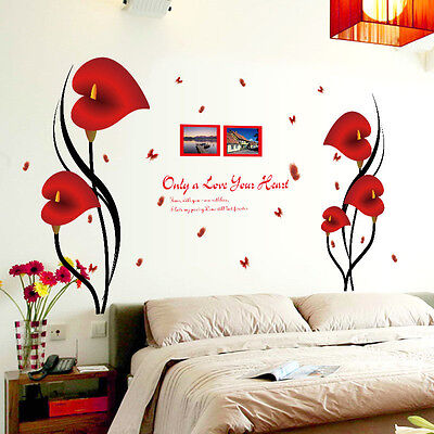 Red Flower Photo - Removable Red Flower Photo Frame Tree Wall Decal Sticker Vinyl Home Decor New