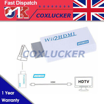 1X Wii Input to HDMI 1080P HD Audio Output Converter Adapter Cable 3.5mm Jack UK
