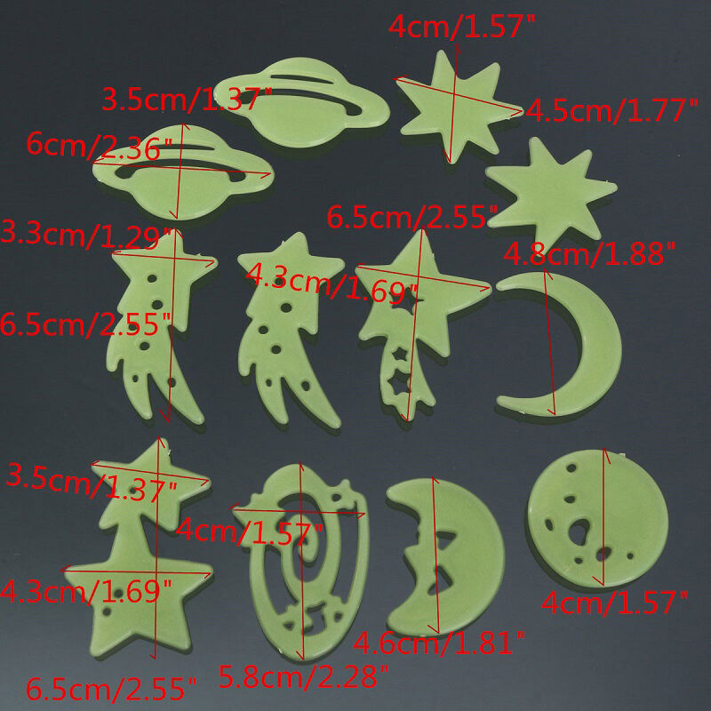 Creative Shooting Stars Planet Glow In The Dark Fluorescent PVC Wall Stickers US