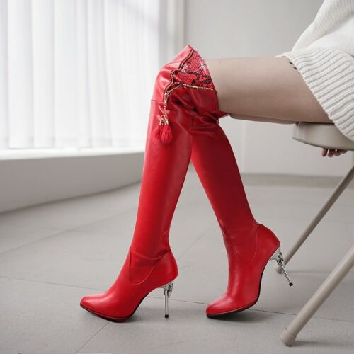 Details about  /Red Wedding Bridal Slouch Over The Knee Thigh Boots Pointy Toe High Heel Shoes L