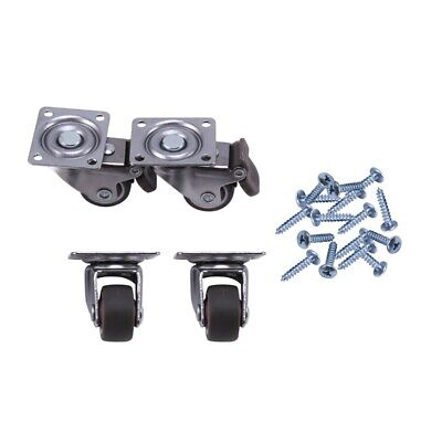 1x4 Pack 1 Inch Low Profile Casters Wheels Soft Rubber Swivel Caster With 360