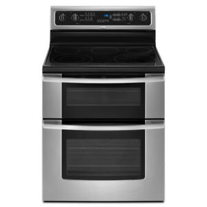 "30"" Double-oven range; Ceramic glass cook-top; stainless steel"