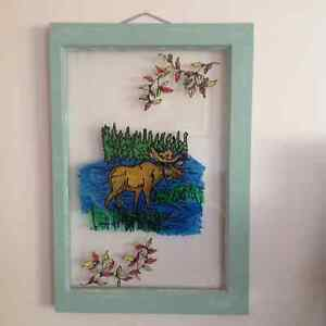 Faux stained Glass of moose