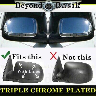 1999-2006 Chevy Silverado GMC Sierra Triple Chrome Mirror Covers Overlays 1500 Door Mirror Cover