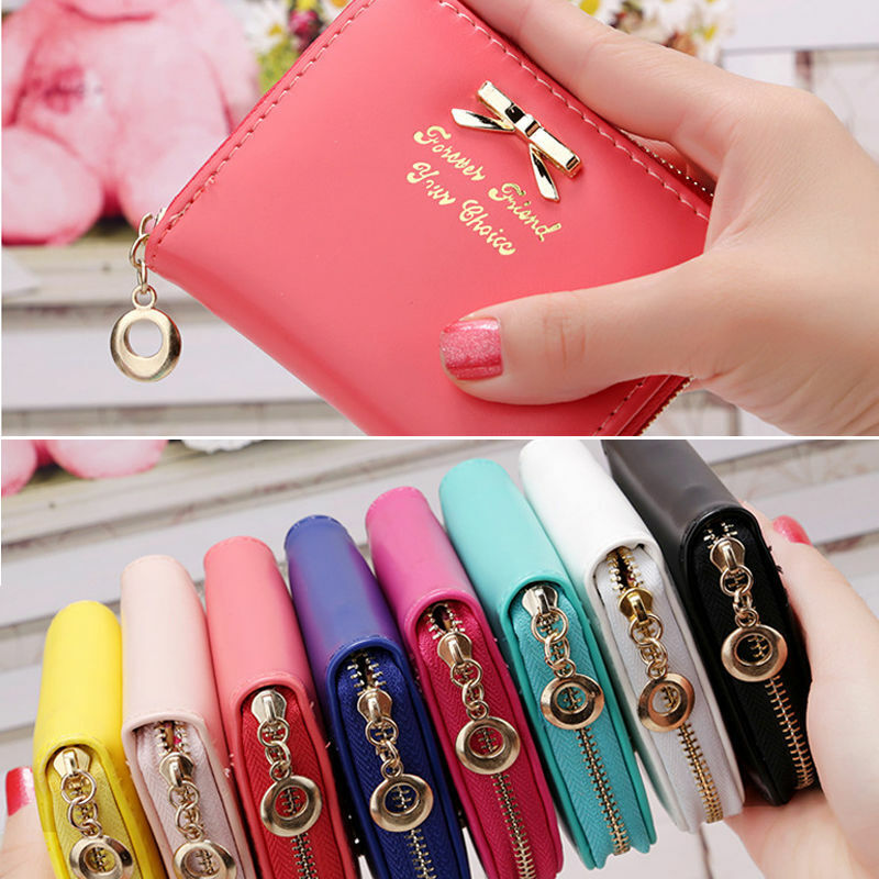 Cute Women's Coin Purse Leather Zipper Card Holder Pockets Mini Pouch Wallet US Clothing, Shoes & Accessories