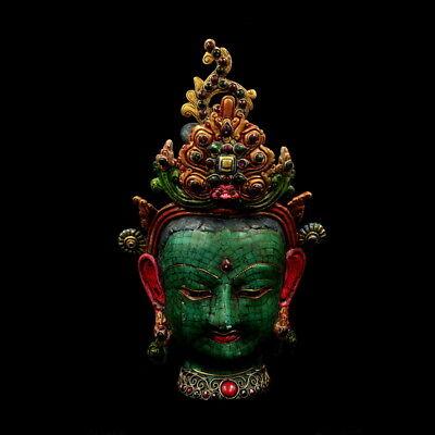 "12"" China old Antique Nepal handmade Turquoise Guanyin Bodhisattva Mask statue"