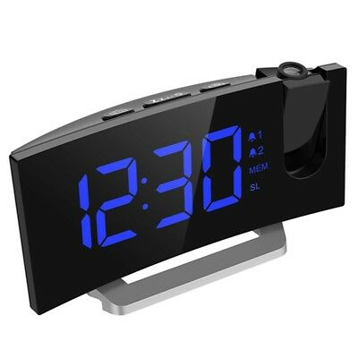 GE Arc Led Projection Alarm Clock with USB Charger Radio Snooze Dual Alarm