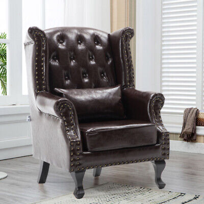 Chesterfield Leather Queen Anne Armchair Wing Button Vintage Chair Fireside Sofa