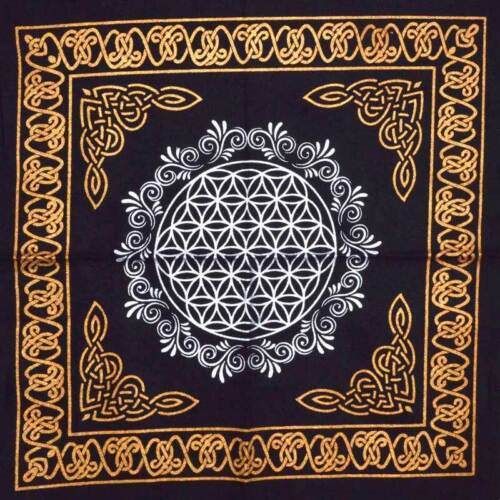 Black Flower of Life ALTAR CLOTH 18 x 18 inch Wiccan Witch Pagan