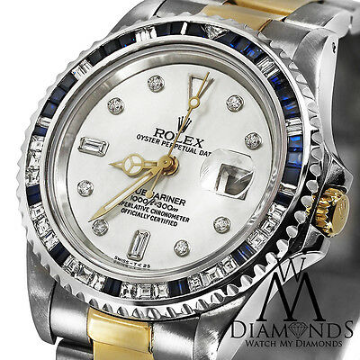 Diamond Rolex Submariner 18K Gold & Stainless Steel Watch Baguette Diamond Bezel