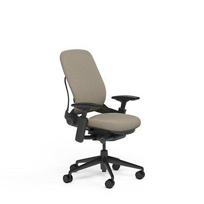 New Steelcase Adjustable Leap Desk Chair Buzz2 Sable Fabric Seat - Black Frame