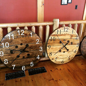 Beatiful hand crafted wooden reel clocks