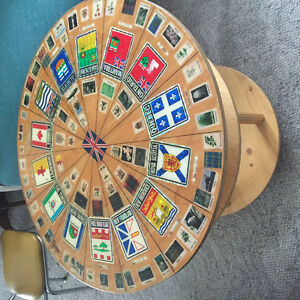 vintage coffee table winth in some old postage stamp