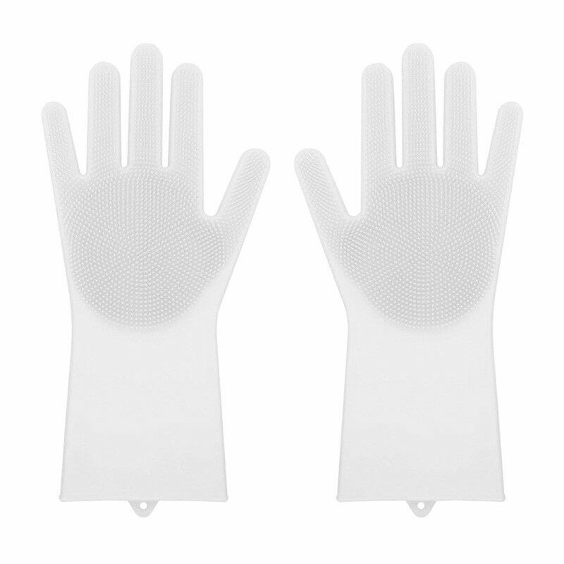 Magic Gloves Dish Washing Silicone Rubber Scrubber Cleaning White Color 2 in 1 Cleaning Products
