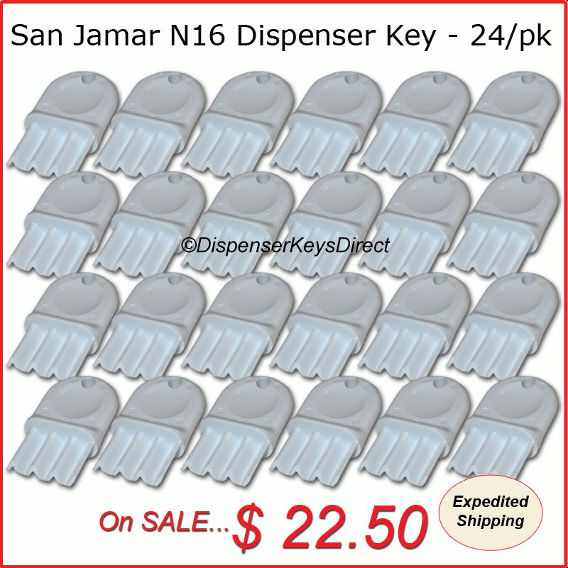 "San Jamar N16 Dispenser Key - 24/piece ""Master Pack"""