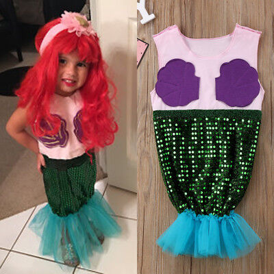 Kids Ariel Sequin Little Mermaid Set Girls Princess Fancy Dress Up Party Costume