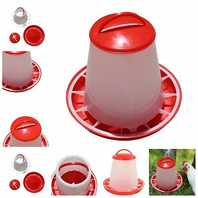 1.5kg Red Plastic Feeder Chicken Hen Poultry Drinkers Waterer With Lid Hand Co
