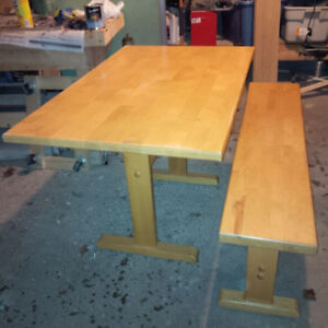 Solid wood table & bench