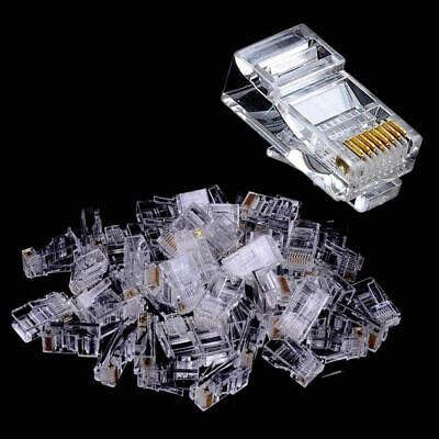 100Pcs Network PC Cable Modular Ethernet Plug Head RJ45 CAT-5e Connectors ON