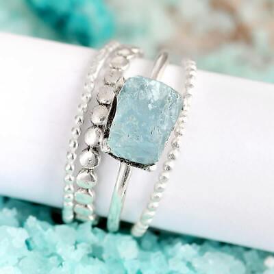 Stacking Aquamarine Rings Set Sterling Silver Women Raw Stone Stackable Gemstone