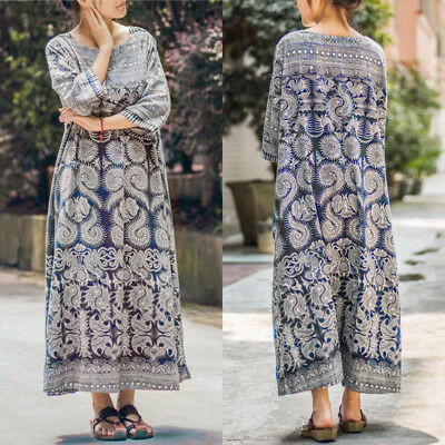 UK Plus Size Women Floral Print Vintage Totems Loose Long Top Maxi Dress Kaftan