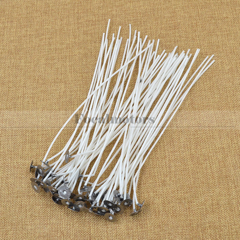 50pcs 8Inch Candle Wicks Cotton Core Waxed With Sustainers Candle Making Supply