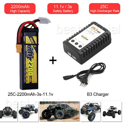 2200mAh 3S 11.1V LiPo Battery 25C XT60 For RC FPV Quad Drone Heli Car+B3 Charger