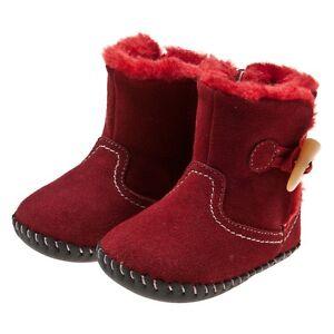 LITTLE-BLUE-LAMB-zapatos-de-bebe-Caminar-Botas-botines-Cuero-rojo-NUEVO