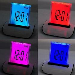 USA! 7 LED Color Digital LCD Alarm Clock Thermometer Calendar Snooze temperature