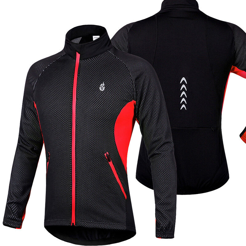 Mens Winter Cycling Jackets Fleece Thermal Windproof Long Sleeve Jersey Coats Cycling