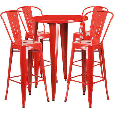 30 Round Red Metal Indoor Outdoor Restaurant Bar Table Set W 4 Cafe Barstools