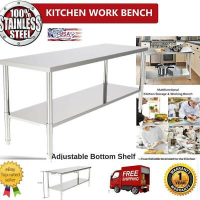 New Commercial 72in Stainless Steel Galvanized Kitchen Work Prep Prepare Table