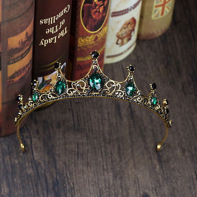 Baroque Wedding Bridal Tiara Handmade Vintage Queen Green Crystal Crown Headband