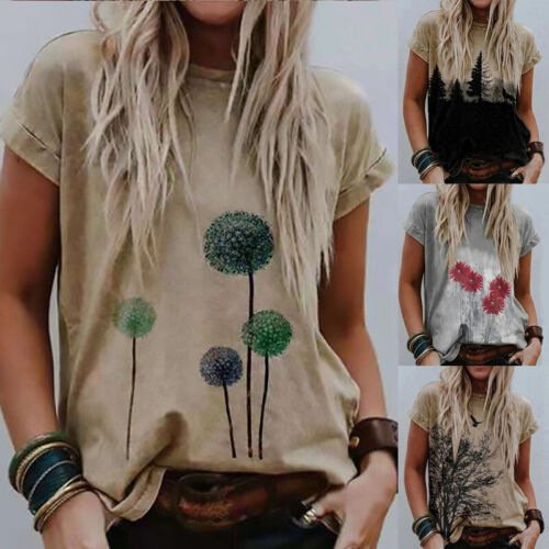 Summer Women Short Sleeve Floral T Shirt Crew Neck Loose Casual Tops Slim Blouse Clothing, Shoes & Accessories