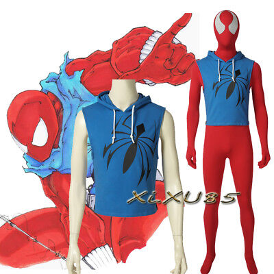 HOT Spiderman Scarlet Spider Man Cosplay Costume Customize Halloween Accessories