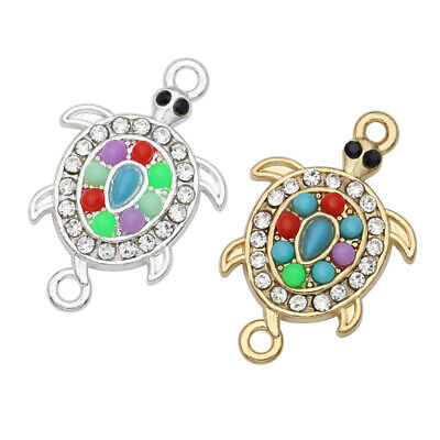 Accessories For Turtles (5PCS Silver Crystal Turtle Charm Connector for Making Bracelet)
