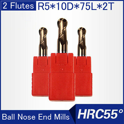 Hrc55 2flutes R5 Solid Carbide Ball Nose End Mills L 75mm