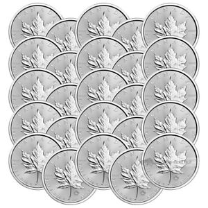 Lot-of-25-x-1-oz-2017-Canadian-Maple-Leaf-Silver-Coin