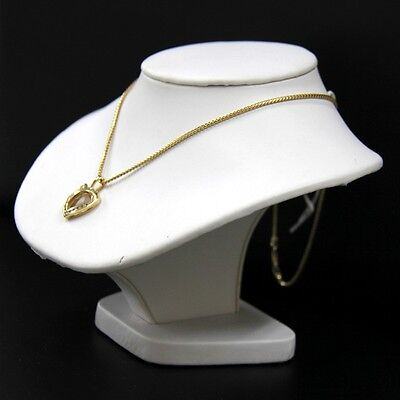 Neckform Bust Necklace Display Low White Faux Leather 7 58