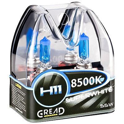 H11 BOX HALOGEN LAMPEN IN XENON OPTIK VON GREAD LIGHTS SUPER WHITE 8500K 55W