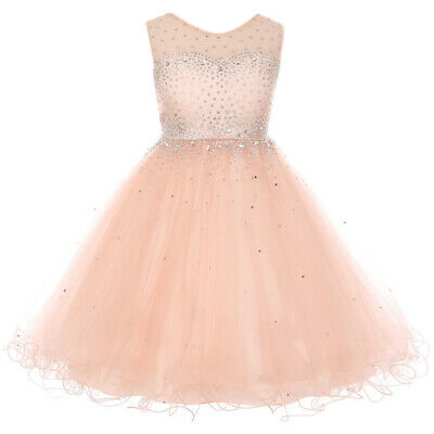 Elegant Sparkling Sleeveless Knee Length Flower Girl Blush Formal - Elegant Flower Girl Dresses