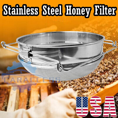 1xstainless Steel Beekeeping Double Honey Sieve Strainer Filter Apiary Equipment