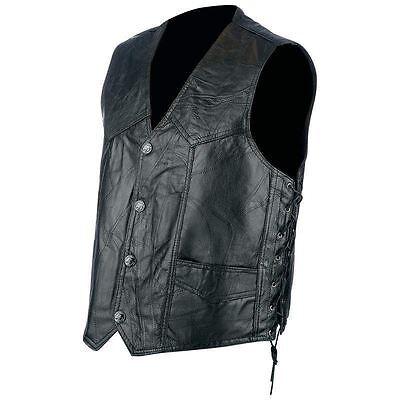 Mens Black Genuine Hog Leather VEST Motorcycle Biker MC Adjustable Side Lacing