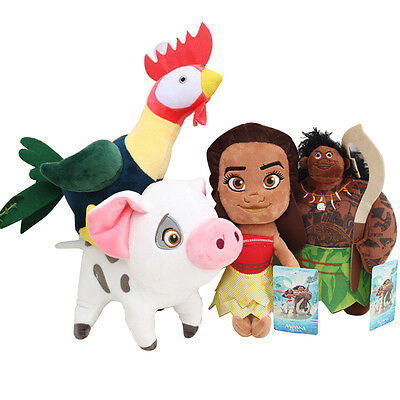 4Pcs Lot Disney Movie Moana Maui Heihei Pet Pig Pua Soft stuffed Plush Toy Doll (Disney Soft Doll)