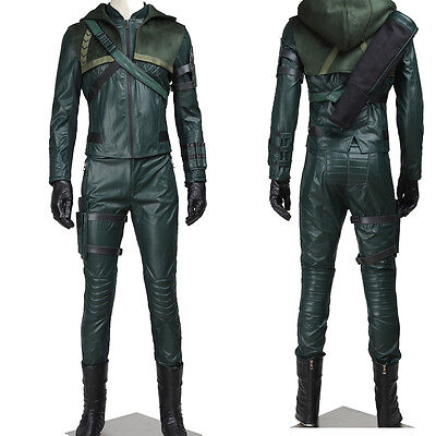 Hot !Green Arrow Oliver Queen Cosplay Costume Full Suit Any Size - Arrow Suit