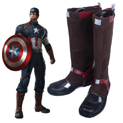 Captain America Avengers Age of Ultron Cosplay Boots Shoes Cos Shoe Boot