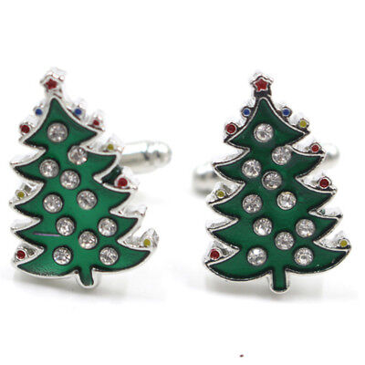 Crystal Enamel Christmas Tree Cufflinks Mens Cuff Links Jewelry Wedding Party as