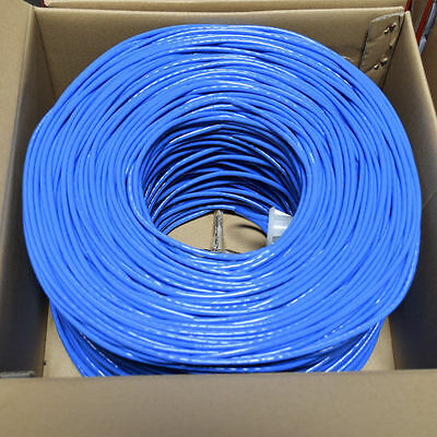 CAT6 1000FT UTP SOLID NETWORK ETHERNET CABLE BULK WIRE 550MHz 23 AWG LAN BLUE