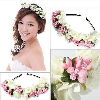 US Floral Bridal Headband Wedding Flower Hairband Garland