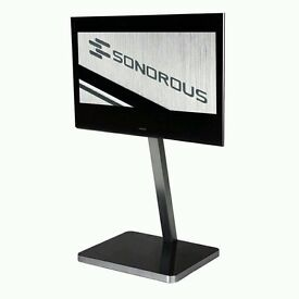 """Black Glass And Silver Aluminium TV Stand For Screens Up To 50"""" - Sonorous PL2700"""